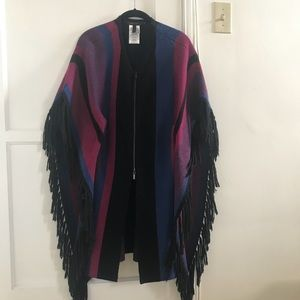 BCBG poncho with fringe